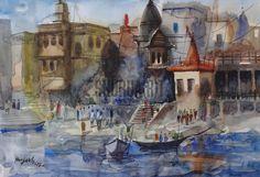 $149 USD. Original watercolor of Benares Ghat: Handmade painting of a ghat in Varanasi.