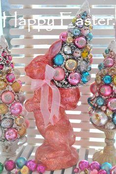 GrandMarshall Easter Parade Shabby Bottle Brush Tree pink bunny vintage glass ornaments chic christmas bottlebrush