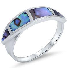 Green Abalone Ring Solid 925 Sterling Silver Green Abalone Shell Inlay Half Eternity Fashion Trendy Simple Ring Abalone Jewelry