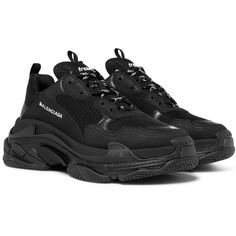 Balenciaga Triple S Suede, Leather and Mesh Sneakers ($785) ❤ liked on Polyvore featuring men's fashion, men's shoes, men's sneakers, mens mesh sneakers, mens black sneakers, mens track shoes, mens suede shoes and mens white shoes