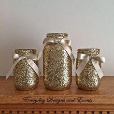 3 Jars, gold mason jar set, Centerpiece set, Gold centerpiece, Baby shower decor, bridal shower, birthday decor