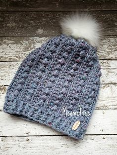 fa90d19a Ready to Ship - Crochet Chunky Women's Slouchy Pom Pom Hat Gray Blue Chunky  Beanie Textured