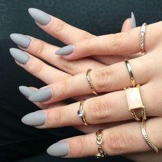 fashion, grey, nail, ring, style, matte nail, gel nail