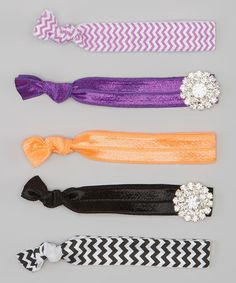 Take a look at this Black & Purple Rhinestone Hair Tie Set by Charlotte Rose Couture on #zulily today!
