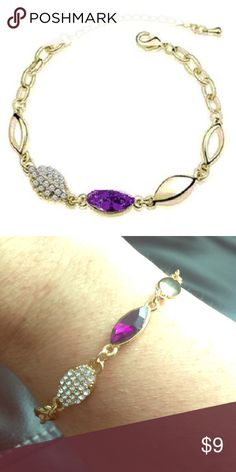 """Deep Purple Marquis Shaped CZ Gold Bracelet Material: Yellow gold plated Condition: New  Deep Purple Marquis Shaped CZ Bracelet with clear CZ's and Gold  Bracelet is 7"""" and has a 2 1/3"""" extender. Jewelry Bracelets"""