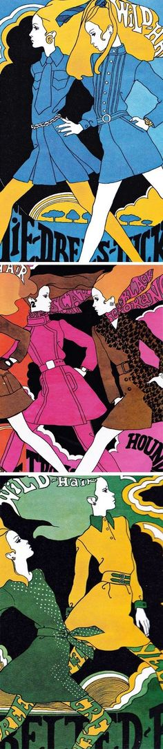 Illustrations by Antonio Lopez, originally for Intro Magazine 1967. ( retro fashion illustration / 60s / Psychedelic Art / Retro Design )