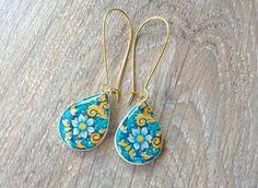 Mexican tiles replica teardrop earrings Mexican jewelry by XTory