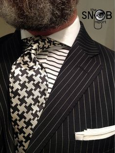 WIW pinstripe suit Polo, horizontal stripe contrasting Keaton collar shirt Purple Label by Ralph Lauren & houndstooth tie by Chester Barrie