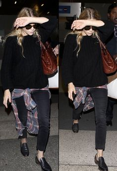 AIRPORT LOOK: ASHLEY   PLAID + DENIM AT LAX - Olsens Anonymous, poor girl having to shield her face x