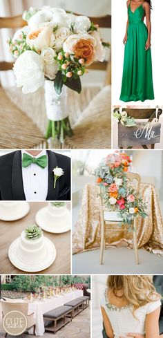 2013 Pantone Color of the Year, Emerald Green: Weddings  Obsessed with this green dress. But I think I'd go mint green!!!!