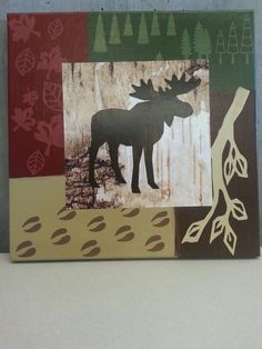 12 x 12 Moose on canvas.   Made using Cricut images,  craft paint and birch bark scrapbook paper.