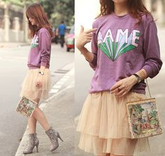 Romwe Lame Pullover, Yesstyle Tiered Tulle Skirt, Randa Embellished Booties