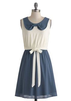 Writers Reunion Dress - Chiffon, Mid-length, Blue, White, Peter Pan Collar, Belted, Casual, A-line, Twofer, Sleeveless, Collared, Nautical