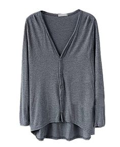 Shawhuaa Womens Comfort HighLow Hem Long Sleeve Button Cardigan Dark Grey >>> You can find more details by visiting the image link.