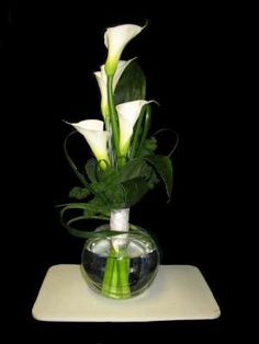 Black and white floral arrangements