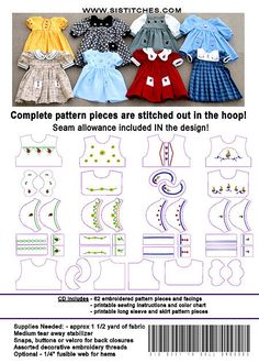 Machine Embroidery CD's --the Pattern and Embellishments are ALL IN THE HOOP! - Dresses from the 1950's