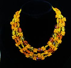 W GERMANY 1950s Orange Triple Strand Lucite Necklace Designer Fashion Jewelry Perfect For Spring