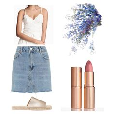 Lace and denim Denim Skirt, Shoe Bag, Lace, Polyvore, Skirts, Shopping, Collection, Shoes, Design