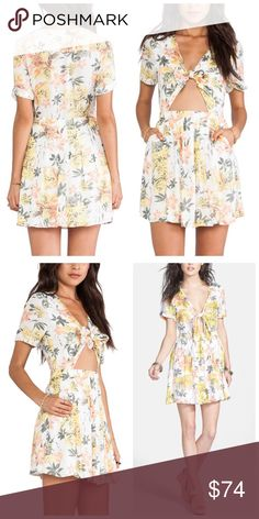 """Free People Front Tie Dress 8 New with tags Free People """"Part Time Lover"""", front tie Hawaiian floral dress. Color is """"lily combo"""" (white, green, yellow & peach), size 8. Measurements: 7.5"""" Sleeve, 36"""" Bust, 28"""" Waist, 34"""" Length, 42"""" Hip Free People Dresses Mini"""