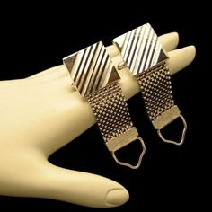 Vintage Mens Silver Plated Mesh Wrap Around Cufflinks Cuff Links Etched Stripes #Unbranded