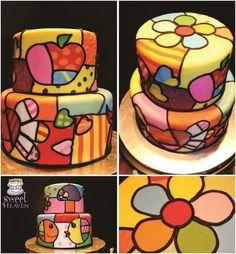 tortas con flores vitral - Buscar con Google
