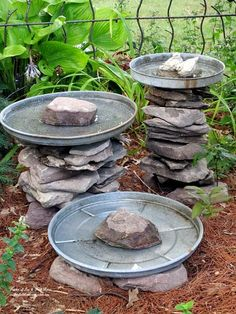 stacked stone bird baths, outdoor living, repurposing upcycling, Stone leftover from another project and three galvanized trash can lids become a bird bath grouping Another of my use what you have ventures More pictures and directions at Garden Crafts, Garden Projects, Garden Art, Easy Projects, Diy Garden Decor, Dream Garden, Herb Garden, Bird Bath Garden, Diy Bird Bath