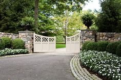 Elegant Country Estate - traditional - Landscape - New York - Artemis Landscape Architects, Inc. Driveway Entrance Landscaping, Small Front Yard Landscaping, Farmhouse Landscaping, Modern Landscaping, Landscaping Plants, Driveway Ideas, Driveway Gate, Rock Driveway, Landscaping Ideas