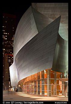 Walt Disney Concert Hall at night. Los Angeles, California, USA
