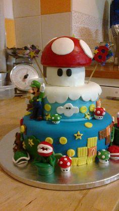 Super Mário. Super Mario, Cake, Desserts, Cakes, Pies, Tailgate Desserts, Deserts, Kuchen, Postres