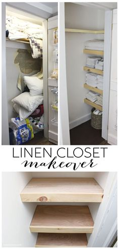 Linen Closet Makeover – Jaime Costiglio A DIY tutorial to build shelves in a hall linen closet. Tackle that messy, disorganized space with fresh paint and new shelves. Laundry Closet Organization, Laundry Closet Makeover, Organization Ideas, Bedroom Organization, Small Linen Closets, Diy Regal, Closet Shelves, Building Shelves In Closet, Cupboard Shelves