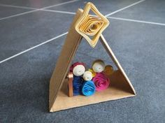 Unique handmade miniature quilling nativity scene with a paper hut and a star! All in paper!