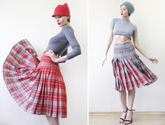 Vintage reversible red grey check tartan plaid pleated full circle midi skirt S Defects!
