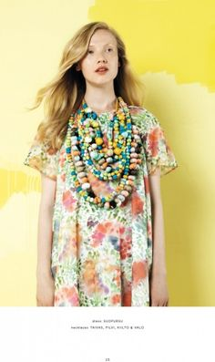 Marimekko - even though I know the sheer weight and bulk of those necklaces would drive me mad after five minutes, I love the colours and style of the dress and necklaces combined!
