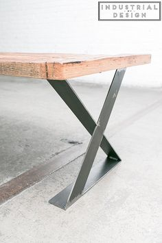 "16"" X-Style Modern Frame Legs (Raw Steel) ▫ Set of 2 Industrial Strength Table Legs ▫ 16"" Height X 16"" Length X 2.75"" Width ▫ DIY Bench Legs, Coffee Table Legs, Etc."