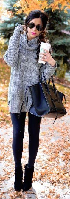 #thanksgiving #fashion · Grey Turtleneck Knit // Black Leather Bag // Black Leggings // Black Booties