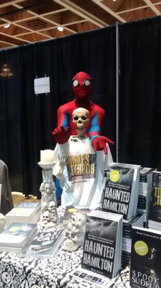 Spidey dropped by to spin a web at the table where we were spinning some fun ghost stories Book Signing, Ghost Stories, Some Fun, Spinning, Bones, Snoopy, Table, Fictional Characters, Hand Spinning