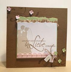 Glückwünsche zur Hochzeit - Eine Bastelidee für Hochzeitskarte in Braun, Grün und Pink