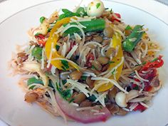 rice vermicelli and green lentils with fresh herbs, yellow pepper, green beans, red onion, charred tomatoes and Bunapi mushrooms in a Dijon-garlic sauce.