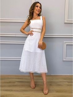 White Dress Summer, White Midi Dress, Summer Dresses, New Outfits, Dress Outfits, Wedding Rehearsal Dress, Dress Design Drawing, Event Dresses, Linen Dresses