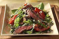 Steak Salad with Blue Cheese but I use Feta cheese w/ creamy balsalmic dressing! Yummo