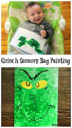 Grinch Sensory Bag Painting - a fun paint craft that even the littlest of Who's can do!! - House of Burke