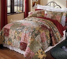 This stunning Antique Roses French Country Farmhouse quilt has all the vintage charm of a French countryside market.