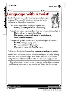 oliver twist penguin schools resource collection reader use this activity sheet to analyse the descriptive language used by dickens in oliver twist