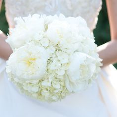 White Peony and Hydrangea Bridal Bouquet // Jenny DeMarco Photography // http://www.theknot.com/weddings/album/a-fresh-modern-wedding-in-austin-tx-137374