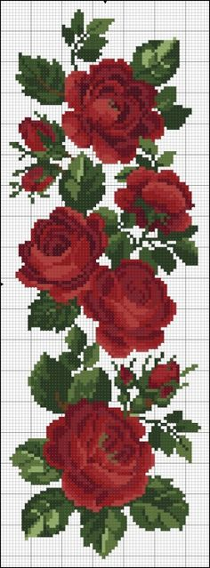 Red rose vine full free cross stitch pattern