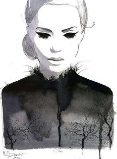 Fashion | Watercolour | Portrait | Trees