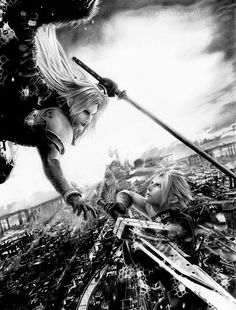 Cloud vs Sephiroth amazing pencil drawing