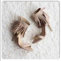 ⭐️ALL SIZES!⭐️NIB Nude Fringe Heels NIB Nude Boho Fringe Heels. Nude heel with adjustable ankle strap, fringe detailing, and padded footbed for comfort. FITS TRUE TO SIZE, approx 4 inch heel. Man made materials. Available in 7, 7.5, 8, 8.5, 9, 10. No Trades and No Paypal⭐️PLEASE COMMENT WITH SIZE WHEN READY TO PURCHASE AND I WILL MAKE A LISTING FOR YOUR SIZE TO BUY, PLEASE DON'T BUY THIS LISTING⭐️Sold out of 6, 6.5's, 7.5's Shoes Heels