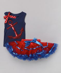 Another great find on #zulily! Red & Navy Anchor Tank & Tutu - Infant, Toddler & Girls by So Girly & Twirly #zulilyfinds
