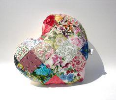 Patchwork  heart shape pillow, quilted pillow, toss pillow